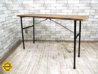 ビンテージ フォールディングテーブル 古材×鉄脚 折畳机 W118cm 無垢材 古家具 アイアン インダストリアル ●
