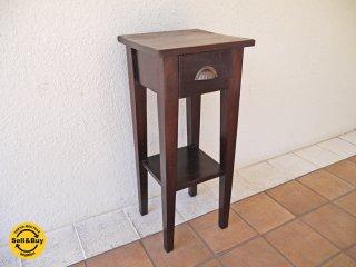 ビンテージ 引出し付き サイドテーブル アジアン 花台 貝殻モチーフ 真鍮取手 ◇