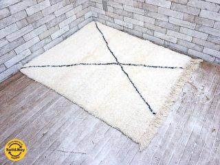 ベニワレン Beni Ouarain ラグ モロッコ 手織り ハンドメイド 未使用品 140×103.5cm A ●