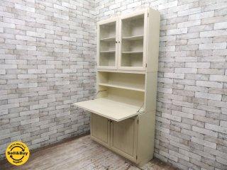 ビンテージ ビューローブックケース アイボリーペイント 書棚 キャビネット ■
