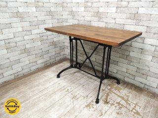 リメイク キャストアイアンレッグ+無垢材天板 ダイニングテーブル カフェテーブル デスク 鋳物脚 鉄脚 ●