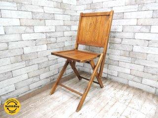 UKビンテージ スラットバック フォールディングチェア 折り畳み椅子 木味 カントリー アンティーク ●