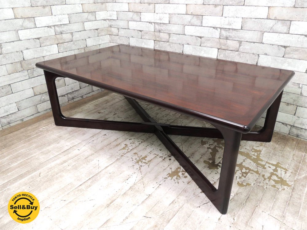 デューロン dyrlund ローズウッド材 ビンテージ コーヒーテーブル センターテーブル W130cm 北欧家具 デンマーク ●