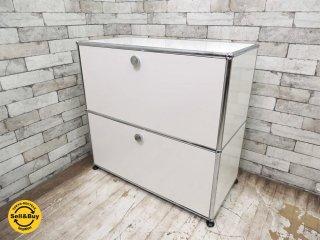 ユーエスエム モジュラーファニチャー USM Modular Furniture USMハラーシステム サイドボード 1x2 キャビネット W785 ドロップダウン&EXドア ピュアホワイト 美品 ◇