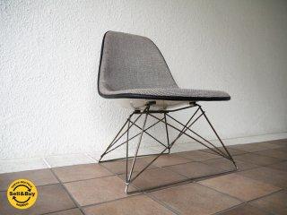 ハーマンミラー  M.F.S Herman Miller C&R. イームズ Eames 80's ビンテージ サイドシェルチェア キャッツクレイドル LSR ラウンジベース 白×黒チェック柄 ◇