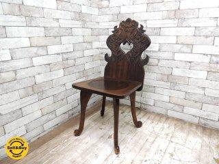 ジャパンビンテージ 無垢材 ホールチェア 飾り椅子 1965刻印有 クラシカルカントリー●