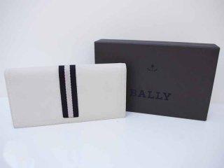 バリー BALLY バリーストライプ 財布 ロングフラップウォレット クリームカラー●