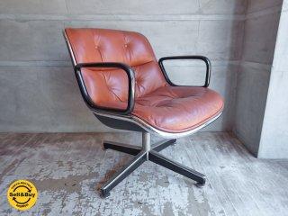 ノール Knoll ポロック チェア Pollock chair 4本脚 昇降 ノーマル ベース キャメル レザー 本革 デスクチェア ワークチェア ♪