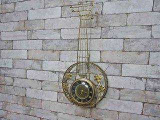 USビンテージ ユナイテッド社製 UNITED バンジョークロック 壁掛け 時計 ウォールクロック 1950年台 ゴールドカラー●