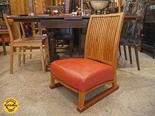 BC工房 安楽きらきら椅子 中座椅子 たたみ脚 チーク無垢材フレーム 本革 レザーシート A ■
