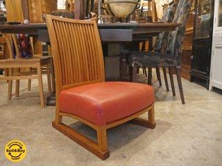 BC工房 安楽きらきら椅子 中座椅子 たたみ脚 チーク無垢材フレーム 本革 レザーシート B ■