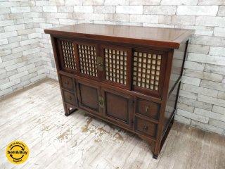 アジアン家具 李朝風 キャビネット サイドボード 飾り棚 中国棚 箪笥 茶棚 ●