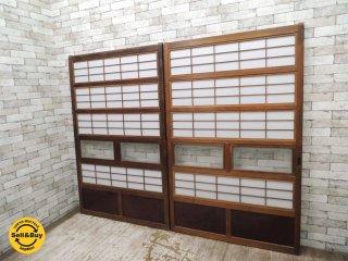 古民家 建具 木製引き戸 2枚セット 格子戸 戸障子 小ガラス戸付 W112.3×2枚 古民具 ビンテージドア 年代物 ●