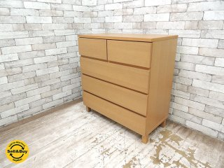 無印良品 MUJI 木製チェスト 4段 オーク材 無垢材 シンプルモダンデザイン ナチュラルカラー W83 ●