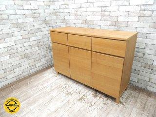 無印良品 MUJI タモ材 木製収納 キャビネット サイドボード ナチュラル 廃盤 ●