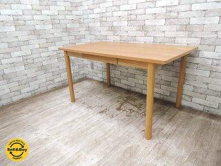 ウニコ unico クラフ CRAFF ダイニングテーブル オーク材 ナチュラル 幅140cm ●