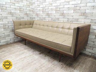 トルコ 高級家具メーカー Autoban 3pソファ Box Sofa medium 本革シート ウォールナット無垢材フレーム 定価約105万 ●