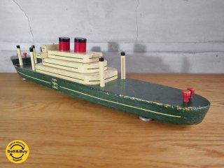 シーバートイカンパニー seaver toy co US ヴィンテージ 木製 シップ 船 ロング 玩具 ♪