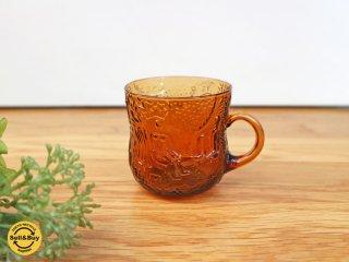 ヌータヤルヴィ Nuutajarvi ファウナ fauna 持ち手付カップ マグカップ ガラス ブラウン オイバ・トイッカ ◎