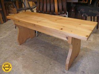 ビンテージ 無垢材 白木 ベンチ センターテーブル サイドテーブル カントリースタイル ■