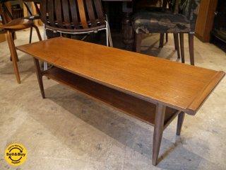 ビンテージ ローテーブル センターテーブル ラック付き W113cm スリム 長方形 ■