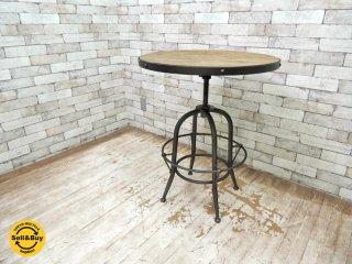 ノットアンティークス Knot antiques バッカス BACCHUS ラウンドテーブル サークルテーブル 650 楡無垢古材 エルムウッド アンティーク インダストリアル カフェテーブル ◇