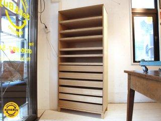 無印良品 MUJI 組み合わせて使える木製収納 タモ材 シャツケース & 棚板 5枚 トレイ6段付 ナチュラル ★