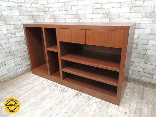 木製 ショップカウンター レジ台 作業台 ディスプレイ台 引き出し2杯 可動棚3枚 店舗什器 W145cm ●