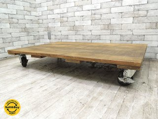 インダストリアルデザイン トローリーテーブル 無垢材×鉄脚×キャスター 台車 ローテーブル 工業系 ●