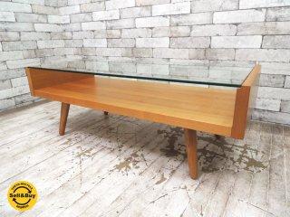 ウニコ unico エッコ ECCO チェリー材 ガラス ローテーブル コーヒーテーブル ナチュラルスタイル ●