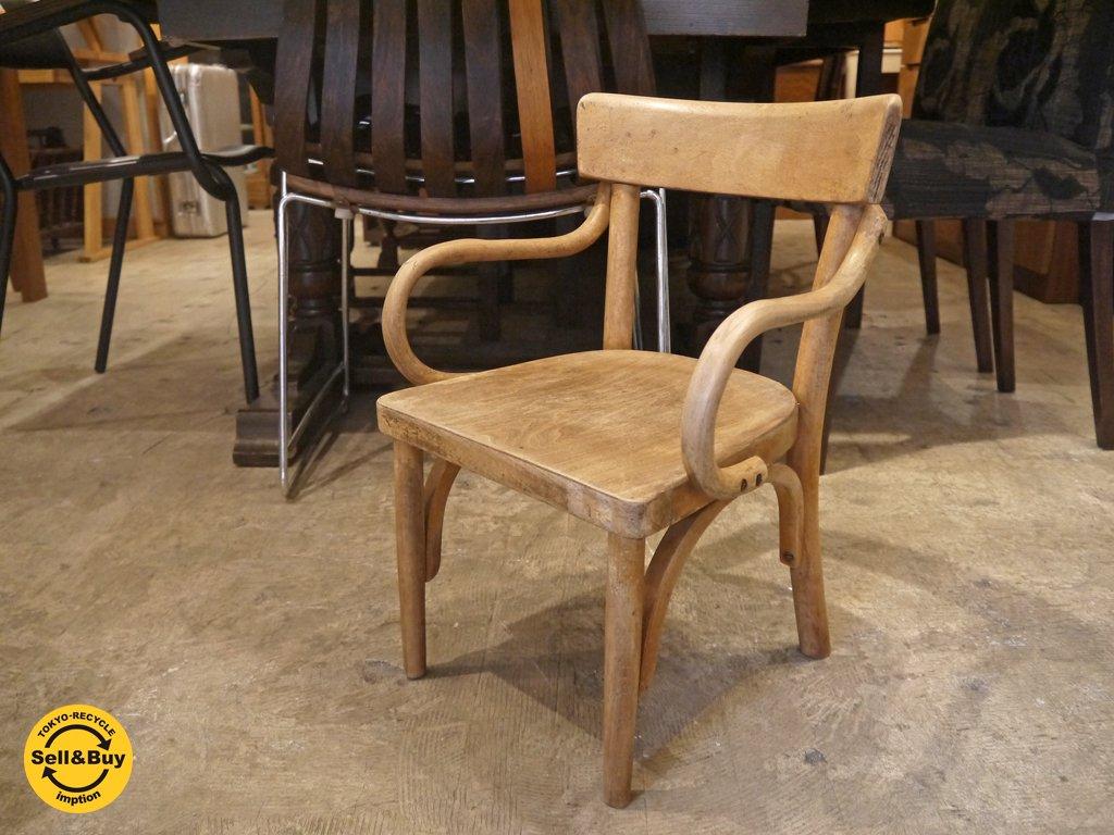フランス アンティーク 曲木 キッズチェア 子供椅子 白木 ナチュラルウッド ■