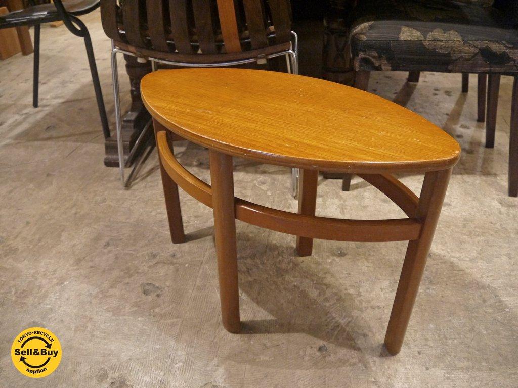 UKビンテージ サイドテーブル チーク材 オーバル 楕円 飾り台 ディスプレイ台 ■