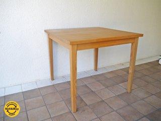 無印良品 MUJI 廃盤・希少 タモ無垢材 ダイニングテーブル 幅85cm アッシュウッドナチュラルカラー スクエア天板 ◇