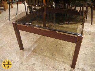 ビンテージ ガラステーブル スモークガラス リビングテーブル ローテーブル スクエア レトロ ■