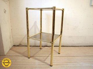 ミッドセンチュリー ゴールドアイアンフレーム× スモークガラス 2段 シェルフ プランター ★