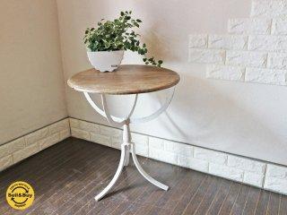 フレンチカントリー スタイル ラウンド カフェテーブル 古材 × アイアン シャビーシック サイドテーブル ◎