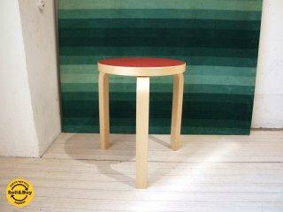 アルテック artek スツール60 stool60 3本脚 アルヴァ アアルト リノリウム レッド 美品 ★