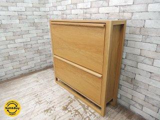 イギリス John Lewis ジョンルイス オーク材 シューズボックス 下駄箱 W100cm クラフト 英国 ロンドン デパート ●