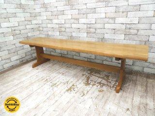 イバタインテリア オーク無垢材 ベンチ 長椅子 W165cm クラフト 国産家具 カントリー 飛騨 ●