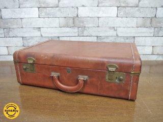 USビンテージ vintage レザー トランク trunk 店舗什器 撮影用 ●