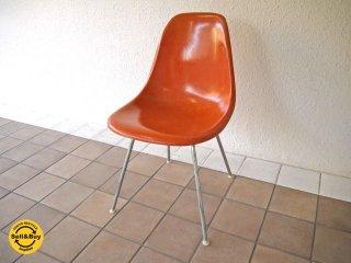 ハーマンミラー HermanMiller C&R. イームズ Eames 70's ビンテージ 2nd サイドシェルチェア Hベース DSX オレンジ色 フルオリジナル 名作チェア ◇