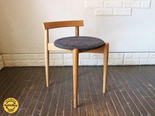 白山家具 スタッキングチェア 飛騨家具 無垢材 丸椅子 ナチュラルウッド ラウンドスツール オーク材 B ◎
