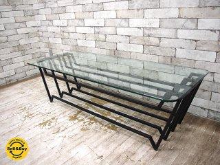 ウニコ unico バック VAC アイアンxガラス ローテーブル コーヒーテーブル ●
