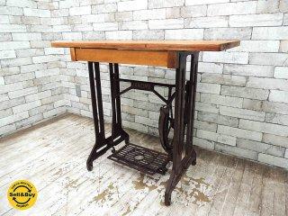 無垢材天板 × ビンテージジャノメミシン脚 テーブル デスク JANOME 脚踏み リメイク 工業系 インダストリアル ■