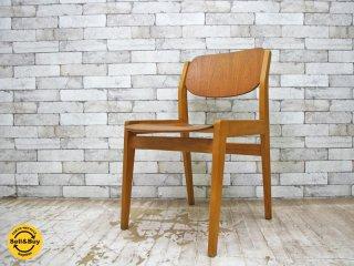天童木工 TENDO ビンテージ ブックチェア 図書館椅子 ダイニングチェア チーク材 水之江忠臣 ●