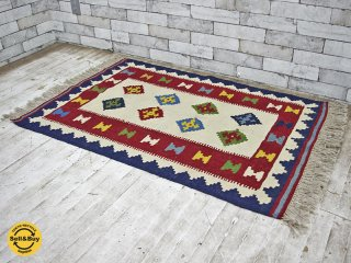 イラン カシュカイ族 キリム ラグ 絨毯 ダイヤモチーフ 伝統柄 手織り W130×D78 ●