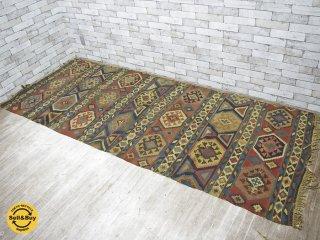 アフガン キリム ラグ 絨毯 オールドスタイル 手織り W288×D119 ●