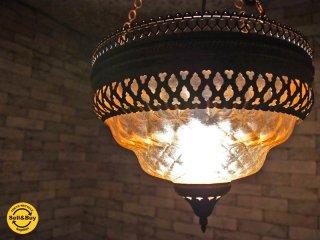 クラシックスタイル ガラス ペンダントライト アンティーク調 照明 ●