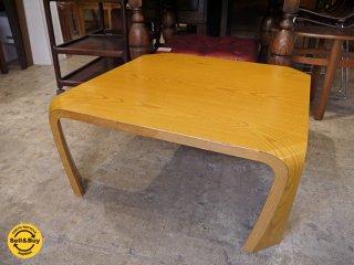 天童木工 Tendo プライウッド 座卓 欅材 ローテーブル w75cm 乾三郎 デザイン ■