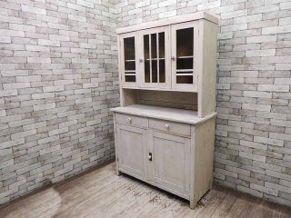 UKアンティーク パイン材 ホワイトペインテッド カップボード 食器棚 ヨーロピアンカントリー 英国家具 シャビー ★